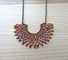 Peyote beaded -orange, red, pink and blue- HALF MOON Necklace handmade by Luciana Lavin by LucianaLavin on Etsy Half Moon Necklace, Seed Bead Necklace, Short Necklace, Beaded Necklace, Seed Beads, Beaded Collar, Collar Necklace, Orange Red, Red And Pink