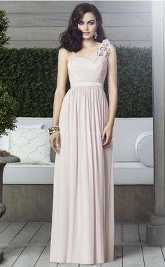 Nude Chiffon A-line One Shoulder Floor-length Bridesmaid Dresses(BD897)