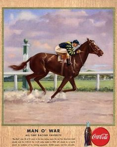 Old Coke poster, Man O' War winning the 1920 Belmont Stakes from Coke's 1947 poster series.