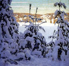 Snow II, 1915 Lawren S. Harris Canadian, 1885 - 1970 oil on canvas x cm Purchased 1916 National Gallery of Canada (no. © family of Lawren S. Tom Thomson, Emily Carr, Winter Landscape, Landscape Art, Landscape Paintings, Canadian Painters, Canadian Artists, Winter Trees, Winter Art