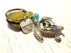 Sea Turtle Gift Paua Shell Keychain Sea Turtle by YoursTrulli