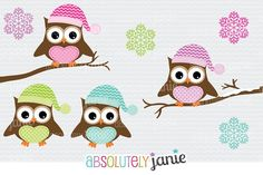 Winter Owls Clipart - Holiday Christmas Digital Clip Art ...
