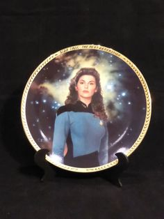 """When you just need to """"talk about it"""", who better than the ship's counsellor?  Star Trek The Next Generation 5th Anniversary collector's plate for sale at SciFiTastic on Etsy."""