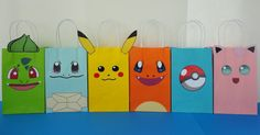 Instant Download Pokemon Favor Bags  by CreativePartyStudio. Pokemon party decoration. Fiesta pokemon. Pokemon cake. Bolo pokemon. Torta pastel pokemon. Pokemon party favors. Pokemon decoration. Pokemon candy table. Pokemon goodie bags. Pokemon treat/ loot bags Pokemon Favor Bags---- Make your Party pop-out with these super cute Goodie/ Treat Bags!! Everyone will love them!! Buy this template @ my Etsy Shop for just $6.50…