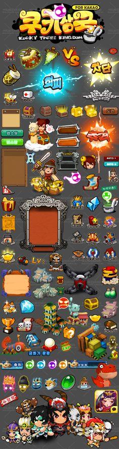 【游戏美术资源】韩国手游《搞怪三国》全套UI素材/界面/图标/音效/特效/场景/骨骼 Game Gui, Game Icon, Game Design, Ui Design, Ui Buttons, Vegas Slots, 2d Game Art, Pixel Art Games, Game Themes