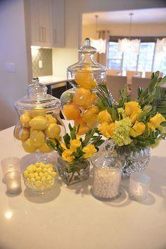 Lemon Kitchen Decor, Kitchen Island Decor, Yellow Kitchen Decor, Kitchen Peninsula, Kitchen Ideas, Kitchen Island Centerpiece, Kitchen Design, Yellow Home Decor, Kitchen Decor Themes