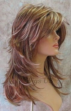 Long Hair Models - Long Wig Choppy Layers Lots-of-Motion Auburn Strawberry Blond Womens Wigs - Haarschnitt - Medium Hair Styles, Curly Hair Styles, Natural Hair Styles, Cut My Hair, Long Hair Cuts, Choppy Layers For Long Hair, Choppy Cut, Hair Layers, Short Layers