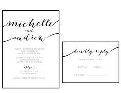 Printable Wedding Invitations, Invitation Set, Printable Designs, Printables, Vows, Our Wedding, My Etsy Shop, Calligraphy, How To Plan