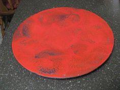 Mid Century Modern Hanova of Pasadena Brutalist Red Enamelware Oval Dish Charger | eBay
