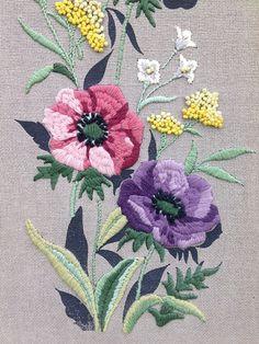 Vintage Crewel Art Vintage Embroidery Crewel by TimelessNchic