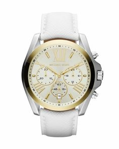 MICHAEL Michael Kors Mid-Size Two-Tone Stainless Steel Bradshaw Chronograph Watch.