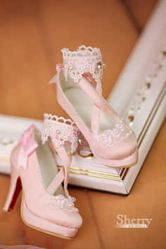 pink lolita shoes for 1/3 bjd girl from Angell Studo ~