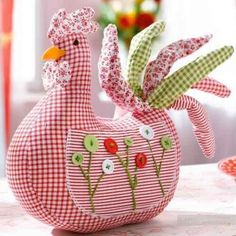 So cute, a chicken pincushion with button embellishment