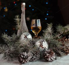 Christmas balls with fir branches and glasses of champagne by Wild Drago Shop on Christmas Balls, Christmas Wreaths, Christmas Tree, Christmas Ornaments, Christmas Ideas, Pine Cones, Branches, Champagne, Holiday Decor