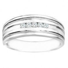 Sterling Silver Men's Wedding Fashion Ring with Cubic Zirconia (0.25 Cts.) (Sterling Silver, Size 7.5), White