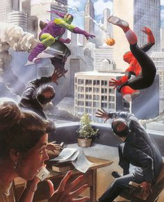 Marvels by Alex Ross and Kurt Busiek. A four-part mini-series looking at the history of the heroes from the Marvel Universe. By the way, Alex Ross is an amazing artist. Marvel Comics, Arte Dc Comics, Bd Comics, Marvel Art, Marvel Heroes, Captain Marvel, Comic Book Artists, Comic Book Characters, Comic Book Heroes
