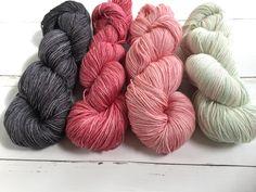 Soft red-Light green- Darkgrey with some speckels - Hand dyed yarn, 75/25% Superwashed  Extra Fine merino wool /silk , 4 skeins of 100 gram door AtelierSopra op Etsy
