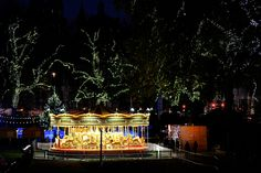 Beautiful carrousel on the East Lawn of the Natural History Museum in London. It looks stunning with all the sparkling lights around.