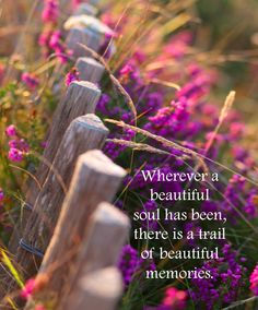 Wherever a beautiful soul has been, there is a trail of beautiful memories. ♥ ♥ ♥