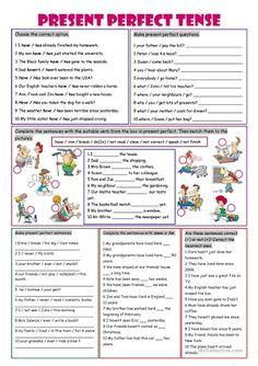 Image result for present perfect tense printable worksheet