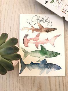 Shark Hai Aquarell Wasserfarben Watercolor Animals Fische DIY Haie Aquarelle Tiermotive