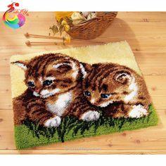 Needlework cushion Cute Cat Mat Hook Rug Kit DIY Unfinished Crocheting Yarn Mat Latch Hook Rug Kit Pillows Carpet Set printing