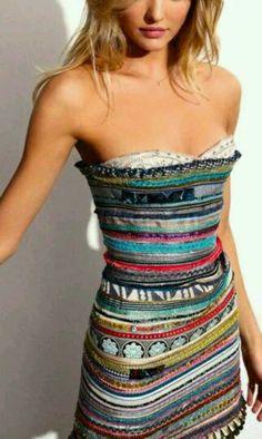 Love this multi-colored, striped mini!
