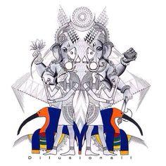 """Thoth Ganesh - Gods of Wisdom."" By Dilusionall #Ganesh #Egyptian #Art #Symmetry #Design #Culture #religion #Tradition #Henna #Mehndi"