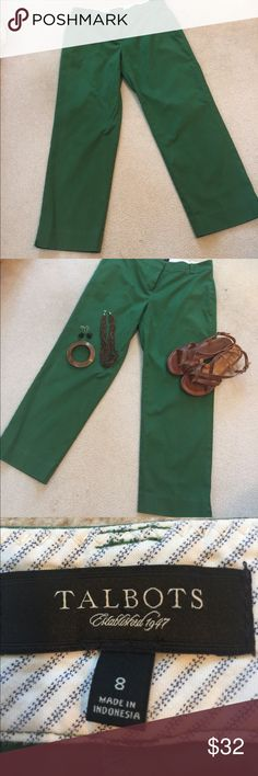 "Talbots Signature Capri Kelly green.  Size 8.  Signature fit Capri.  Inseam is 26"".  Waist lying flat is 17"" across.  Perfect for work or casual play! No flaws.  No front pockets. Talbots Pants Capris"