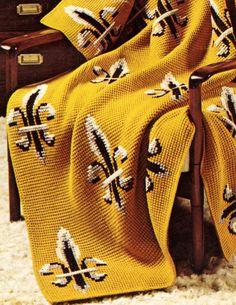 Pattern for Saints- Fleur de Lis Afghan, crochet