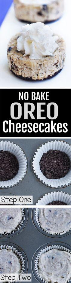 Mini Oreo Cheesecake Cups, NO Baking Required!