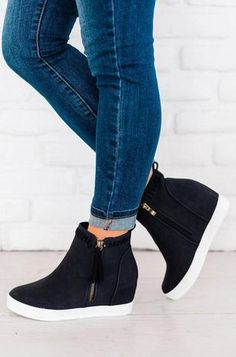 Sizing: Fits True to Size Material: Faux Leather Wedge Heel Zipper Closure Imported. Black Wedge Sneakers, Black Wedges, Wedged Sneakers, Wedge Ankle Boots, Shoe Boots, Boot Wedges, Women's Shoes, Shoes Style, Flat Shoes