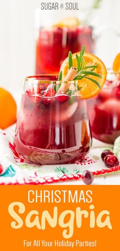 This Christmas Sangria is made with red wine, fruit juices, brandy, soda, and fruit for a delicious big-batch cocktail that's perfect for holiday parties. Red Sangria Recipes, Drinks Alcohol Recipes, Punch Recipes, Yummy Drinks, Cocktail Recipes, Margarita Recipes, Alcoholic Drinks, Winter Sangria, Christmas Sangria