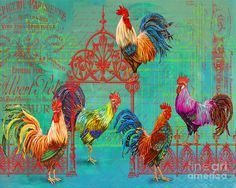 Le Rooster Heaven Painting  - Le Rooster Heaven Fine Art Print
