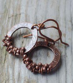 Copper Earrings Ring of Fire Large Textured Metalwork Rustic Hoop Dangle. Keirsten Giles, via Etsy.