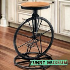 Bicycle Wheel Stool Chair Decor Industrial on Carousell