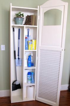 Store brooms, dustpans, spray cleaners and more in a decor-friendly utility cabinet. Transform the regular louvered door by cutting a pretty peek-a-boo to showcase a top-shelf display like Lindy at Cottage Hill. No one will guess what's inside. - WomansDay.com