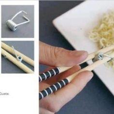 spring loaded chopsticks.  Cool lIdea!!!