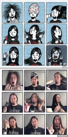 A metal wake up, cartoon vs. reality :) true story :)