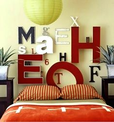 cabeceira de cama personalizada com letras