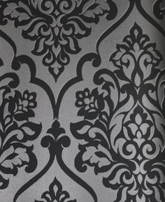 Black Damask Wall Covering
