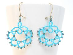 Tatting pattern - turquoise tatted earrings - for shuttle tatting on Etsy, $6.29 AUD