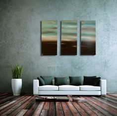 """Choco Teal Sky  Teal art, with chocolate brown and cream on canvas. 3 piece canvas wall art. Painted to order in these or any colours. If you choose """"I want to specify my own colours"""", you can enter them in the special instructions box at the checkout, but we prefer to receive a colour swatch to match to."""