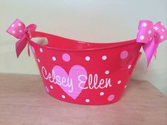 Personalized oval tub  Valentine's day gift basket by DeLaDesign, $12.00