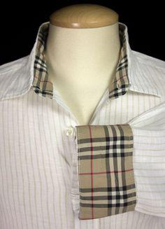 BURBERRY BRIT Mens Dress Shirt L Large Off White Khaki Linen Nova Check Plaid #BurberryBrit