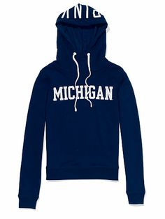 University of Michigan Bling Funnel-neck Hoodie PINK