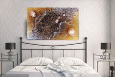 """Original Textured Painting, Large Acrylic Mixed Media, Textured Abstract,""""Two Moon River"""", 12 x 24 Original Painting, Modern Abstract..."""