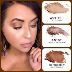 Do you want to recreate this amazing #warmtone eye makeup? #matte tan (astute) and caramel (gingerly), paired with #metallic champagne (antsy). Build your own quad at www.taniaslashes.com #younique #taniaslashes #eyemakeup