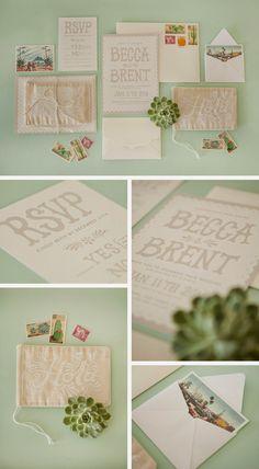 beccalovesart: Becca & Brent's White Fiesta Wedding Invites