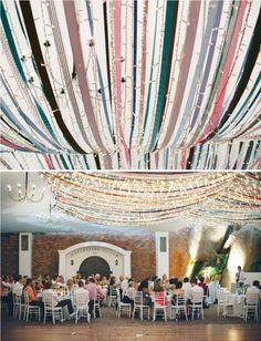 Ribbons and fairy lights, wedding decor.